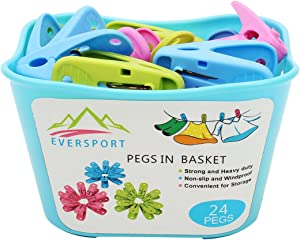 EverSport Sturdy Clothespin Clothes Clips Pegs 24-Pack in Basket Plastic Clothespin Laundry Windproof Clothespin Photo Paper Pegs Craft Clips Painting Display Pegs Kitchen Pegs