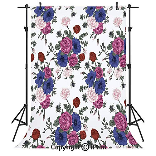 Anemone Flower Photography Backdrops,Bouquets of Roses Anemones Eustoma Colorful Corsage Bedding Plants Design Decorative,Birthday Party Seamless Photo Studio Booth Background Banner - 9 Banner Cloud Design Photo
