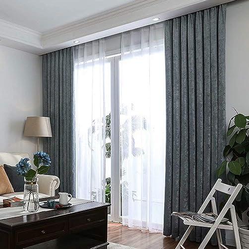 MacoHome Dusty Blue Lined Velvet Panels Textured Grommet Drapes 85 -90 Light Blocking Dusty Blue, 100 W x 102 L