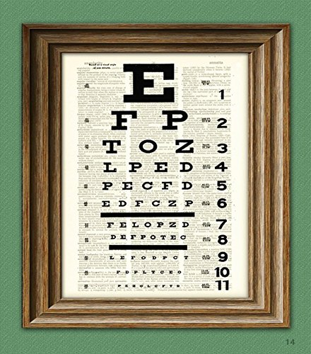 Chart Dictionary (EYE CHART art print awesome upcycled vintage dictionary page book art print)