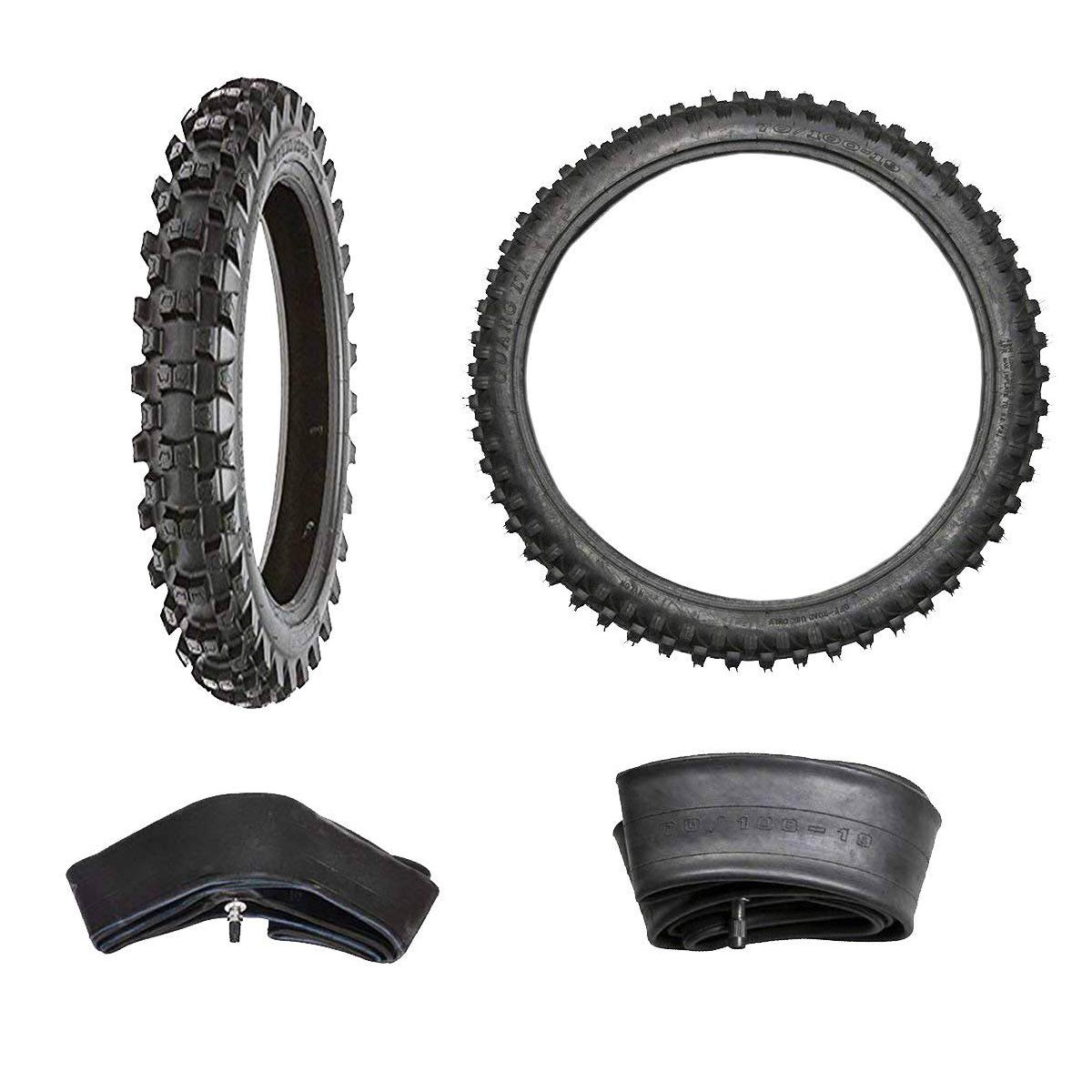 WPHMOTO Set of Four Tire and Inner Tube - Front 70/100-19 & Rear 90/100-16 for Dirt Pit Bikes Off Road