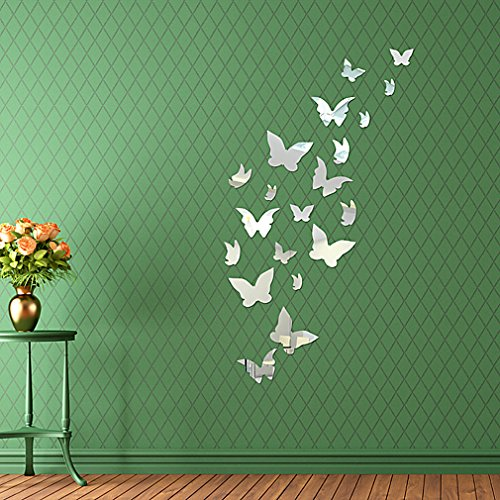DIY - Do It Yourself New Wall Mirror Stickers, Butterflies, Made of Acrylic Material Like Mirror, Modern Design for Home Living Room Bedroom Kitchen Baby Child Novelty Luxury Crystal Wall Silent Watch Extra Large Clocks, Silver by HD Wall Stickers