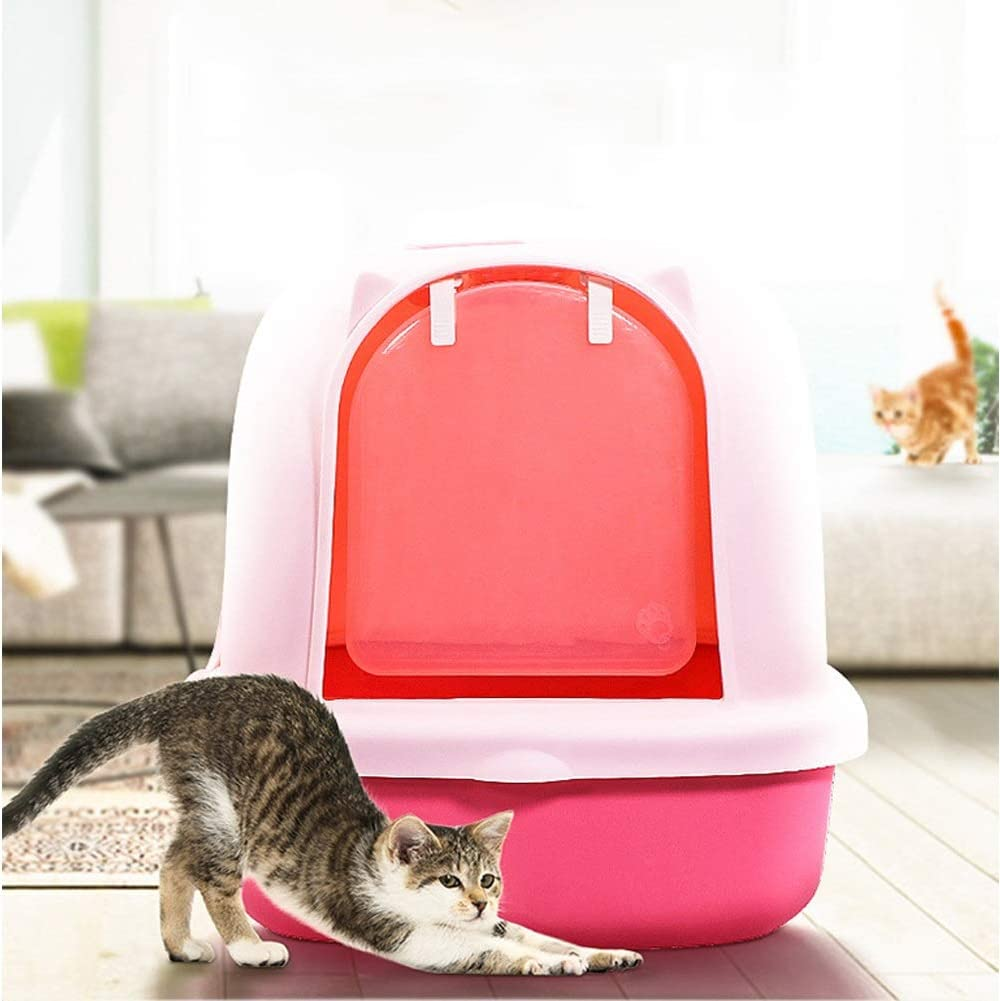 CLDZ-Haustierbett Inodoro Gato Se Pueden Usar Gatos De 10 Kg, Caja De Arena para Gatos Fácil De Transportar con Asa Invisible, Pala De Limpieza Gratuita (Color : Pink): Amazon.es: Hogar