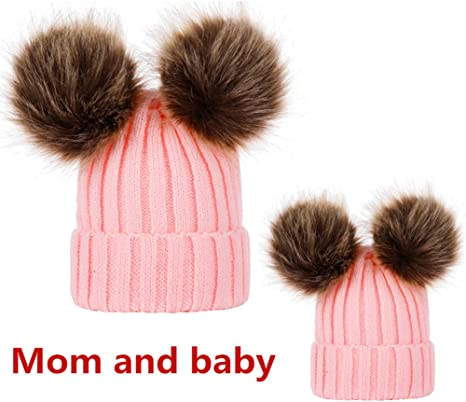 Cotton Knitted Winter Hat For Unisex Adult And Baby With Pompom Faux Fur Acrylic
