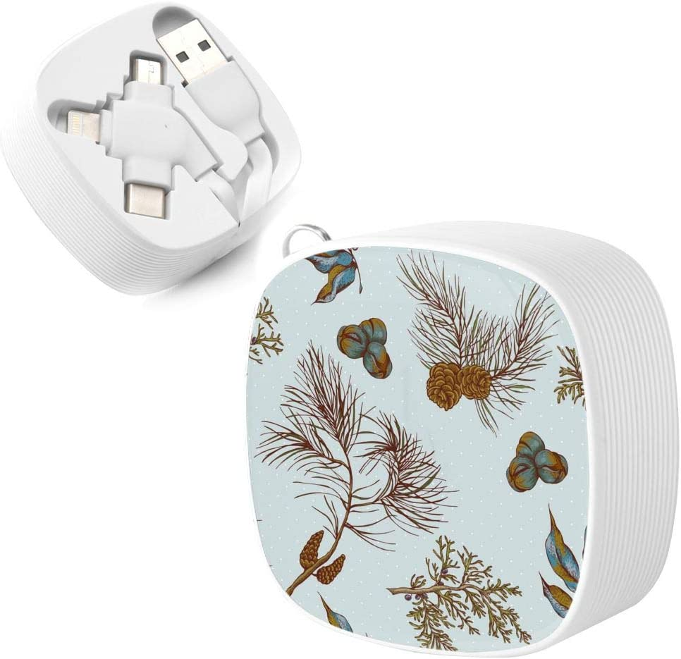 Data Cable Suitable for All Phones Christmas Vintage Seamless Background with Owls