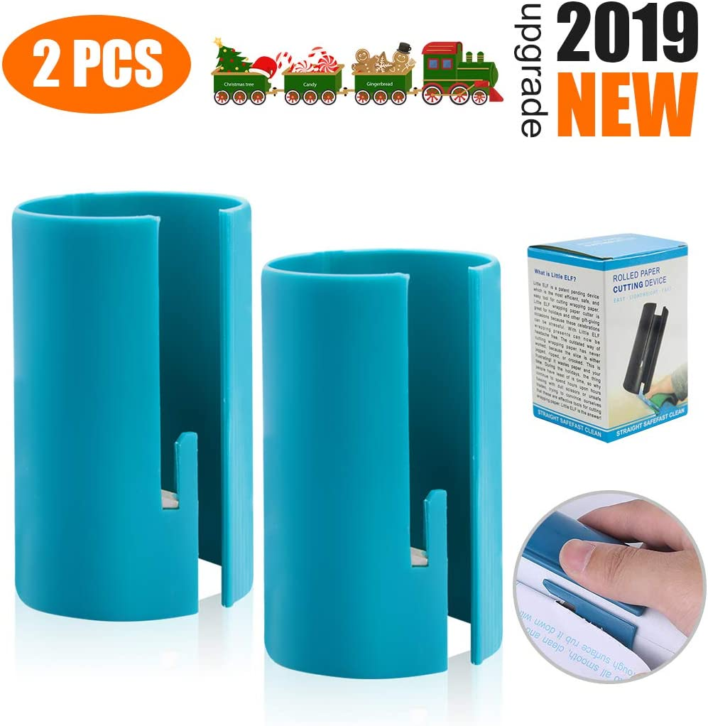 【2019 New】Wrapping Paper Cutter Mini Portable Clearence Wrapping Paper Cutting Tools, Kraft Craft Paper Sliding Line Cut Trimmer, Easy Quick, Creative Sliding Paper Roll Cutter for Christmas, 2 Pack 61zNhtSrCnL