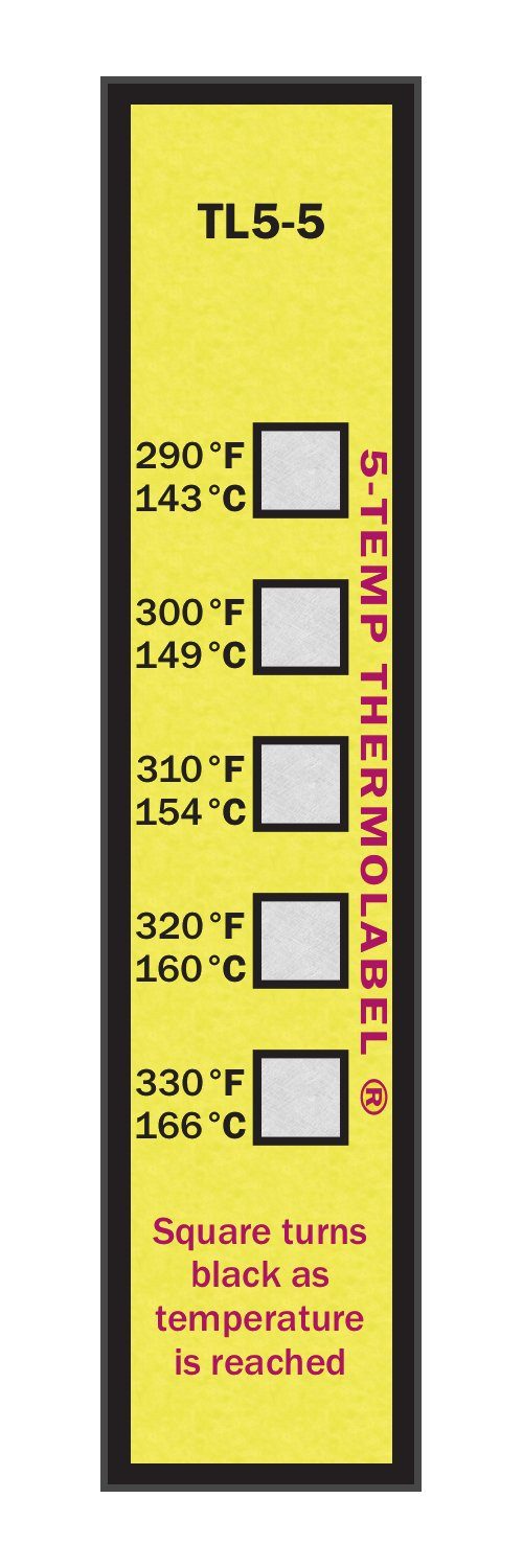 5-Temp Thermolabel 290-330°F Temperature Label Pack of 16 Labels by Paper Thermometer