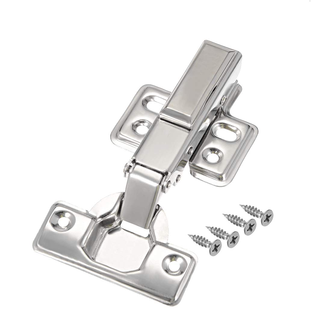 uxcell 201 Stainless Steel Removable Face Frame Concealed Cabinet Full Overlay Door Hinges w Cover