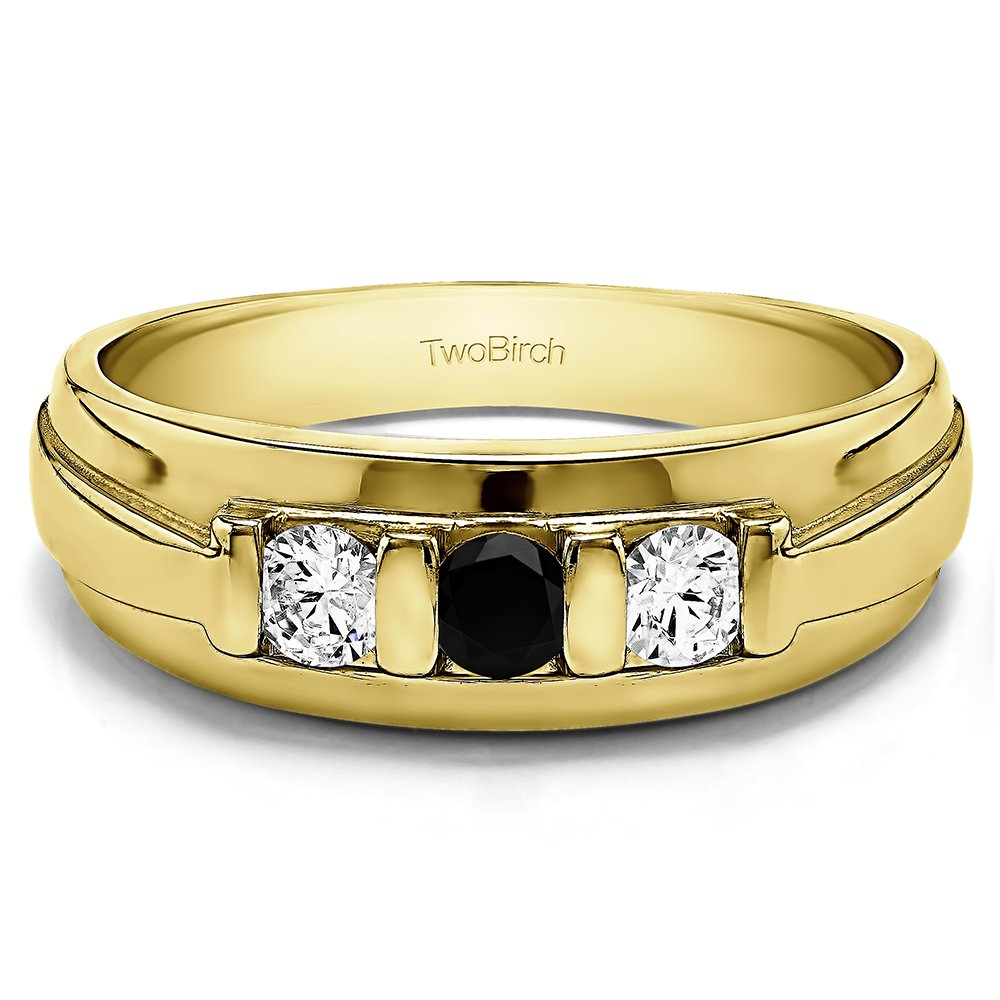Size 3 to 15 in 1//4 Size Intervals 0.74Ct Yellow Silver Mens Wedding Band Black and White Cubic Zirconia