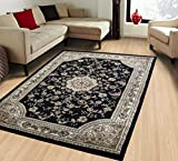 LA Rug Linens Kashan Himalayas Oriental Polyester Indoor Area Rug Carpet 8×10 Feet (Empire 211 Black)