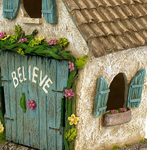 Twig Flower The Adorable Believe Fairy Garden House – 8 Tall – Hand Painted with Doors That Open