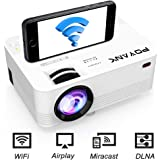 [WIFI Projector] POYANK Projector, Mini Wifi Projector, Video Projector Supports Airplay Miracast DLNA and 1080P, Connection with TV Stick Game Console Smartphone, Home Theater Projector, White.