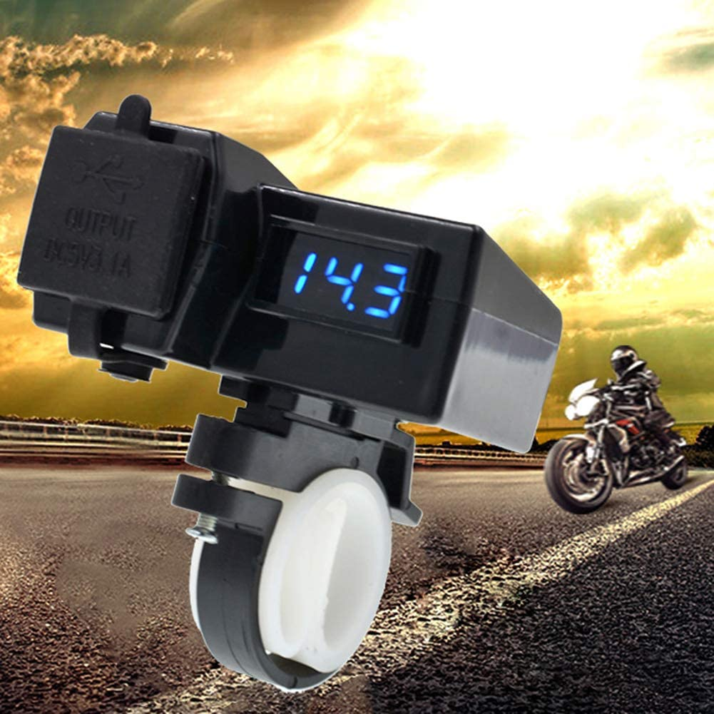 12-24V Dual USB Motorcycle Handlebar Charger Socket Adapter Digital Voltmeter hudiemm0B Motorcycle Charger