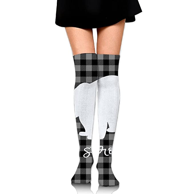 b4b7888ea Women Plaid Bear Buffalo Knee High Socks Outfit POP Smooth Halloween Over  The Knee Socks