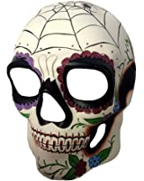 Day of The Dead DOD Sugar Skull Mask Skeleton Head Spiderweb Costume Accessory