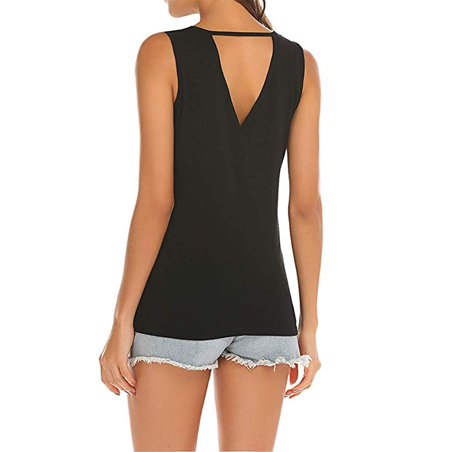 CofeeMO Womens Solid Color Hollow Out Sleeveless Tank Tops,Summer Loose Casual Comfort Blouses