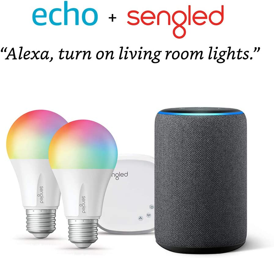 Echo (3rd Gen) Charcoal Bundle with Senged 2-pack smart bulb color starter kit