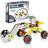 Engineering Construction Building Blocks, 74pcs Metal Bricks Excavator Building Kit, Educational DIY Car Toy for 6+ Boy