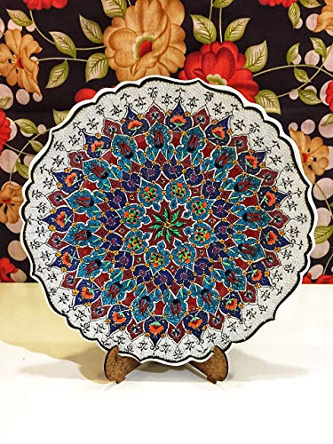 IstanbulArtWorkshop Handmade Decorative Ceramic Plate For Display,Hand Painted Decorative Ceramic Wall Plate 12