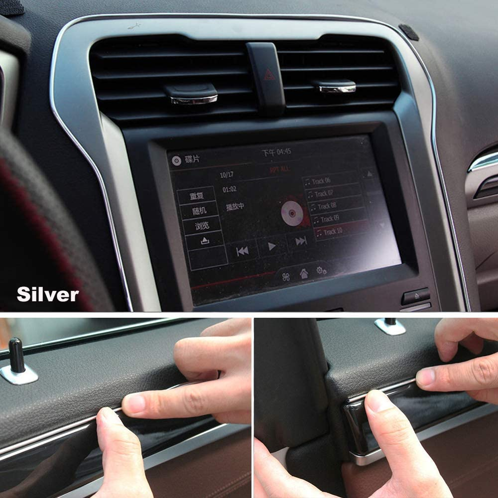 Car Interior Trim Strips 16.4ft Universal Car Gap Fillers Automobile Moulding Line Decorative Accessories DIY Flexible Strip Garnish Accessory with Installing Tool 5M- Blue