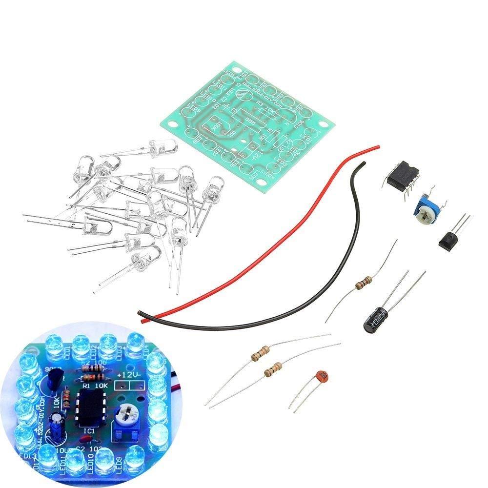 Kit de Circuito bricolaje Kit de luces de se/ñalizaci/ón intermitentes ajustables DIY 555 de velocidad intermitente Circuito Kit Junta de Estudiante//Escuela de Ni/ño