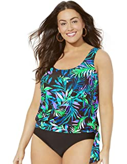 65932b938c6 Swimsuits for All Women s Plus Size Blue Green Palm Blouson Tankini Top