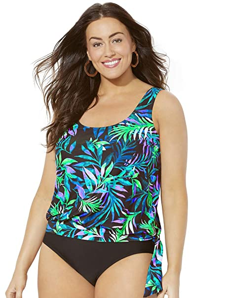 c53d2909887f8 Swimsuits for All Women's Plus Size Blue Green Palm Blouson Tankini Top at  Amazon Women's Clothing store: