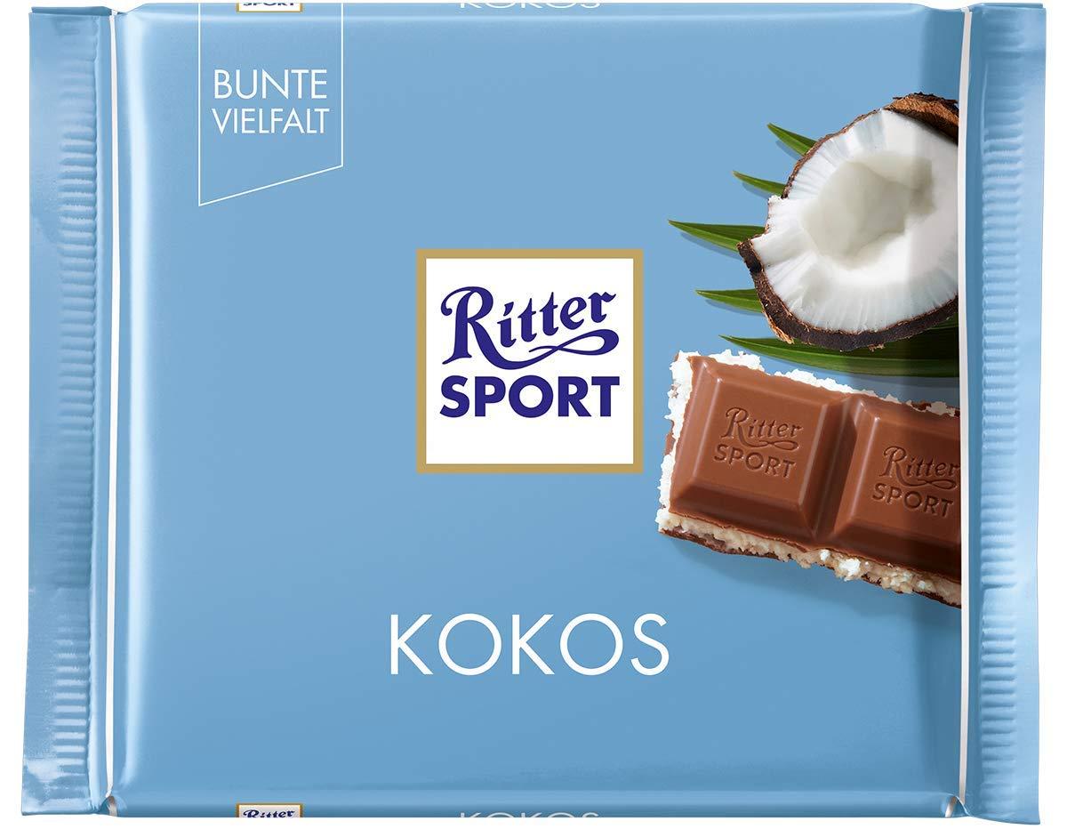 Ritter Sport Coco (12 x 100 g), Chocolate con Leche de chocolate con relleno Coco, Coco rallar tropicales en delicioso Coco de leche crema de relleno, ...