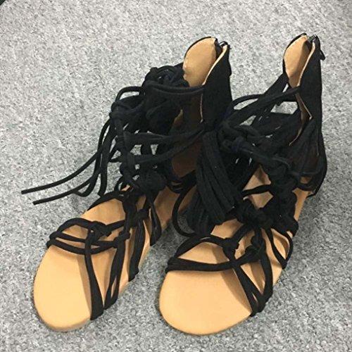 HARRYSTORE zapatos correas Negro verano casual moda zapatos bohemio encantadora mujeres caliente sandalias botas altos 2017 Súper cYZHpcTa
