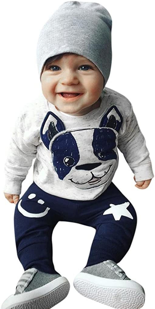 Conjunto de bebé Recien Nacido Primavera Verano Niños niñas Dibujos Animados Perro Orejas Tops Pantalones Conjunto de Ropa 0-24 Mes