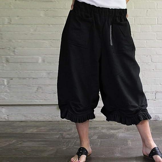 Luckycat Pantalones Harem de Lino Mujer Casual Suelto ...