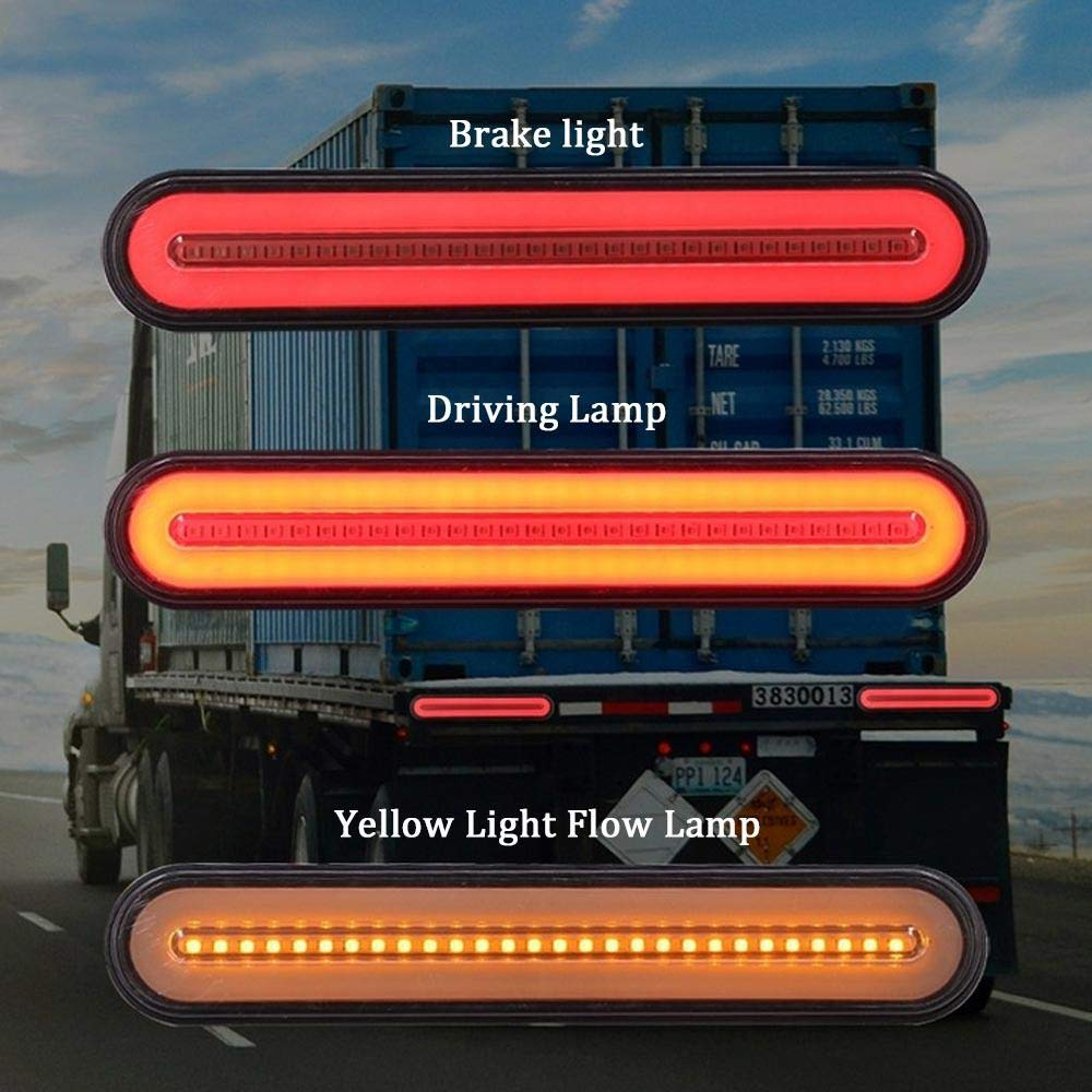 Red Amber Waterproof 9 LED Brake Light Bar Sequential Flowing Turn Signal Tail Lamp for Tow Truck Trailer Boats Van Crane Heavy Forklift