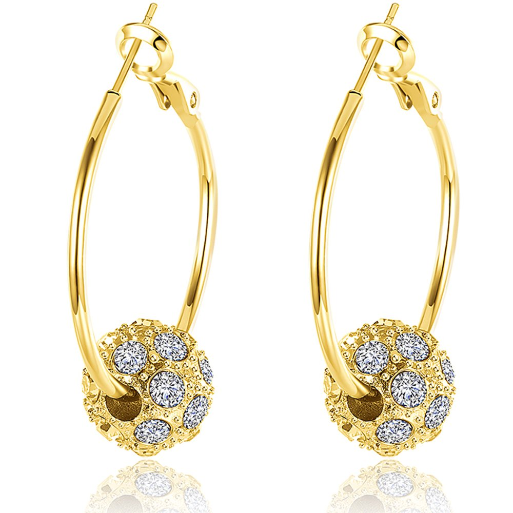 692c8201ba596a Amazon.com: BEMI Romantic Gold/Silver/Rose Gold Plated Polishing Micro  Inlay Rhinestone Ball Hoop Earrings for Woman Gold: Jewelry