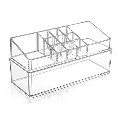 Étui cosmétique HWF Boîte à bijoux Boîte de rangement transparente Organisateur