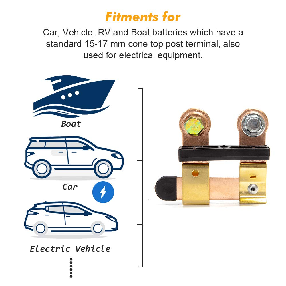 Side Post Battery Disconnect Switch 12-24V 250A for Auto Car RV ATV Boat Vehicles Truck Battery Doctor One Blade Switch Heavy Duty Disconnect Cutoff Shutoff