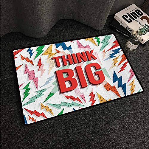 Kitchen Room Floor Mat Rug Colorful 90s,Think Big Inspiration Quote on Retro 90s Background with Abstract Thunder Pattern Print,Red Navy,W24