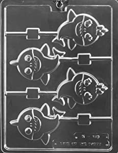 Grandmama's Goodies K178 Baby Shark Lollipop Chocolate Candy Soap Mold with Exclusive Molding Instructions … (1)