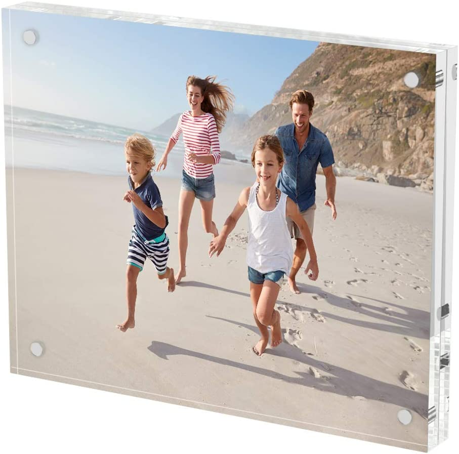 AITEE Acrylic Picture Frame 8x10,Clear Double-Sided Photo Frame,Magnetic Lucite Photo Frames Desktop Display.(10 + 10MM Thickness )