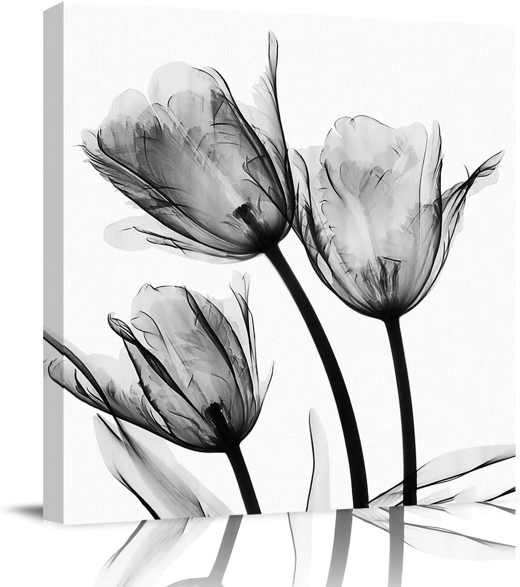 Abstract Wall Art on Canvas for Bedroom Living Room Bathrooms Kitchen,Gray Tulip Flower Art Pattern Artworks Office Home Decor,Stretched by Wooden Frame,Ready to Hang,12x12in
