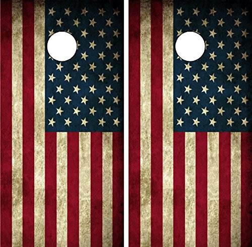 C190 Distressed American Flag Cornhole WRAP Wraps Laminated Board Boards Decal Set Decals Vinyl Sticker Stickers Bean Bag Game Vinyl Graphic Tint Image