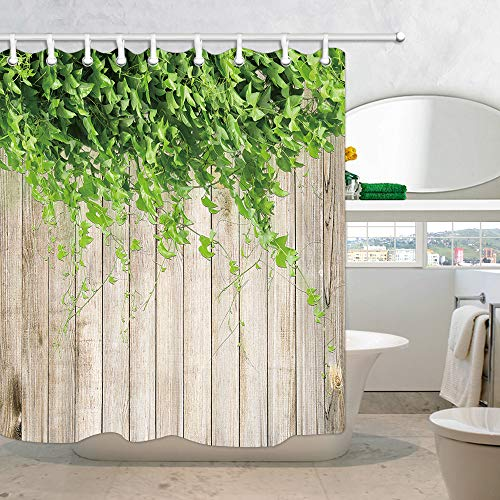 Beige Leaves - JAWO Wooden Board Shower Curtain for Bathroom, Green Plant Leaves on Beige Wood Board Polyester Fabric Bath Curtains with Hooks 69X70 Inches