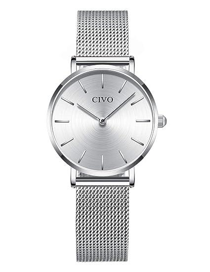 CIVO Relojes Mujer Ultra Fino Silm Minimalista Reloj de Señoras Impermeable Moda Vestir Elegante Relojes de Pulsera Casual Acero Inoxidable Malla ...