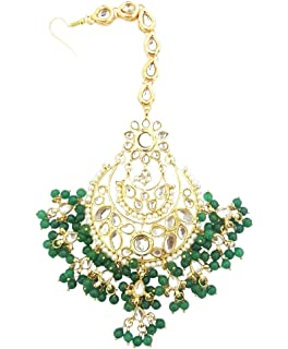 JWL1283 Earrings Mehrunnisa Traditional Gold Tone Kundan & Green Pearls Earrings With Free Kan Chain For Women