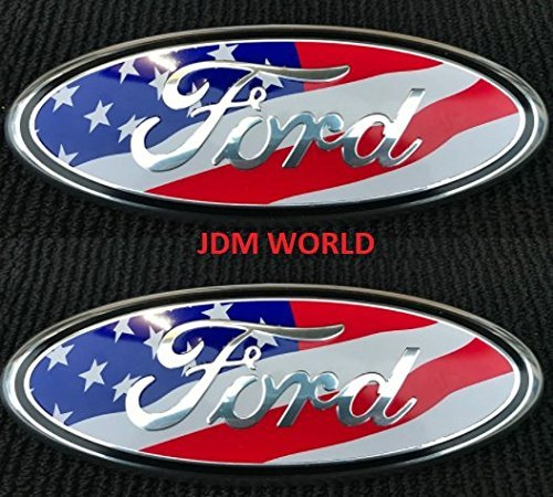 - 2 pcs SET 2005-2014 Ford F150 USA UNITED STATES FLAG Oval 9