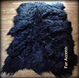 Fur Accents Faux Fur Area Rug / Long Hair Icelandic Sheepskin Accent Carpet / 5' X 8' / Scalloped Rectangle / Black