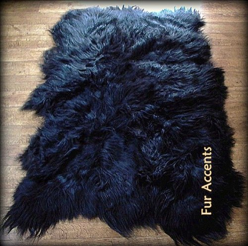 Fur Accents Faux Fur Area Rug   Long Hair Icelandic Sheepskin Accent Carpet   5 X 8   Scalloped Rectangle   Black