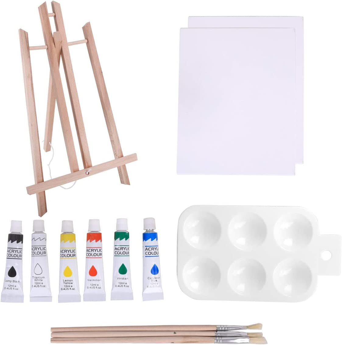Brushes /& Palette Canvas Panel Vencer 13-Piece Acrylic Artist Painting Set with Table Easel
