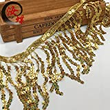 Amyove 6Inch x 15Y Sequin Tassel Decoration Shiny Fringe Chain for Latin Dance Dress gold