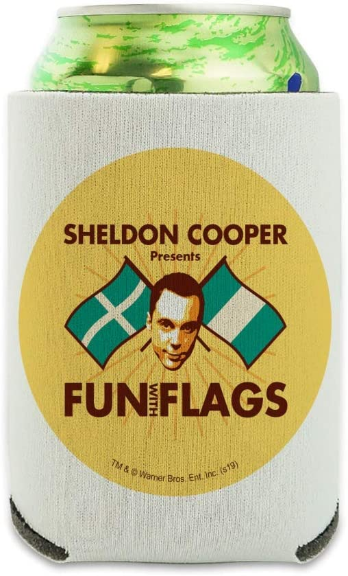 Big Bang Theory Sheldon Cooper Fun with Flags Can Cooler - Drink Sleeve Hugger Collapsible Insulator - Beverage Insulated Holder
