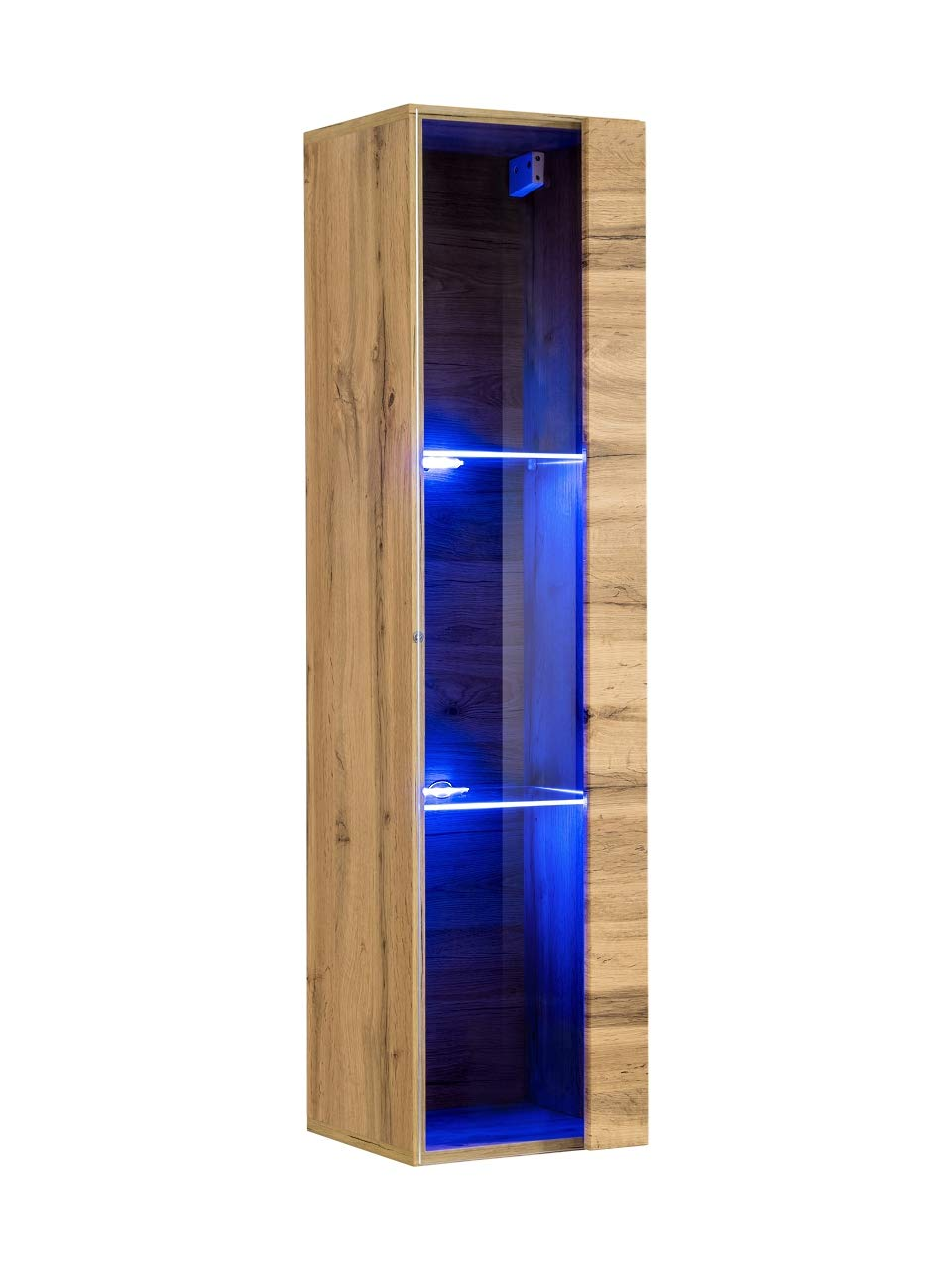 muebles bonitos Mueble Colgante Modelo Berit LD 30x120 en Color Roble con LED